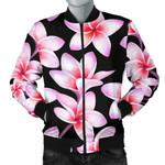 Pink Plumeria In Black Pattern 3D Printed Unisex Jacket