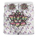 Dream Lotus Watercolor Triangle Printed Bedding Set Bedroom Decor
