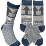 """Awesome Boyfriend"" Socks - One Size Gift Ideas For Men Women Comfortable Funny Unique Socks"