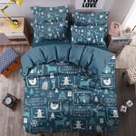 Merry Christmas Blue Printed Bedding Set Bedroom Decor