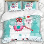 Cute White Llama Christmas 3D Bedding Set Bedroom Decor