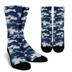 Blue And White Camouflage Print Unisex Crew Socks
