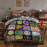Hippie Colorful Peace Sign Pattern Bedding Set Bedroom Decor