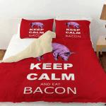 Purple Pig Keep Calm And Eat Bacon Printed Bedding Set Bedroom Decor