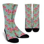 Bird Pink Floral Flower Pattern Print Unisex Crew Socks
