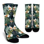 Summer Hawaiian Leaves Pattern Print Unisex Crew Socks