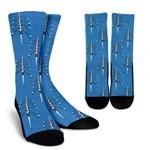 Rowing Pattern Blue Printed Crew Socks