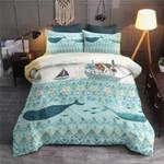 Cartoon Whale Under Sea Pattern Printed Bedding Set Bedroom Decor