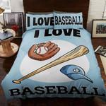 I Love Baseball Printed Bedding Set Bedroom Decor