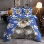 Miniature Schnauzer Blue Snowflake Bedding Set Bedroom Decor