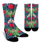 Colorful Hawaii Floral Pattern Print Unisex Crew Socks