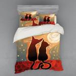 Black Cats Couple Under Moon 3D Bedding Set Bedroom Decor