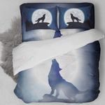 Wolf Howling Full Moon Printed Bedding Set Bedroom Decor