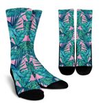 Pink Teal Tropical Leaf Pattern Print Unisex Crew Socks