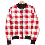 Gingham Red Pattern 3D Printed Unisex Jacket