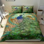Green Feather Peacock Printed Bedding Set Bedroom Decor