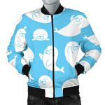 Cute White Sea Lion Seals Pattern 3D Printed Unisex Jacket