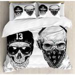 Black Skulls Smile Or Wear Neck Gaiter Printed Bedding Set Bedroom Decor