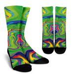 Green Abstract Liquid Trippy Print Unisex Crew Socks