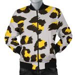 Yellow Gray Leopard Pattern 3D Printed Unisex Jacket