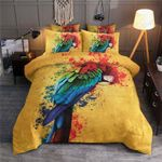 Watercolor Parrot Yellow Printed Bedding Set Bedroom Decor