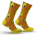 Yellow Avocado Lovely Pattern Printed Crew Socks