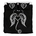 Nurse Wings Stethoscope Black Background Bedding Set Bedroom Decor