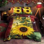 Sunflower White Butterfly Printed Bedding Set Bedroom Decor