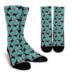 Bernese Mountain Dog Flower Printed Crew Socks