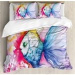 Watercolor Ocean Fish Printed Bedding Set Bedroom Decor