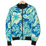 Blue Blossom Tropical Pattern 3D Printed Unisex Jacket