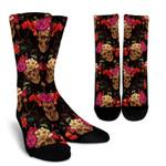 Vintage Flowers Skull Pattern Print Unisex Crew Socks