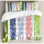 Spring Flowers Stripes Printed Bedding Set Bedroom Decor