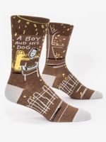 A Boy and his Dog Crew Socks Gift Ideas For Men Women Funny Unique Socks