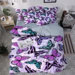 Lovely Purple Butterfly Printed Bedding Set Bedroom Decor