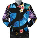 Tropical Blue Leaf Flower Pattern 3D Printed Unisex Jacket