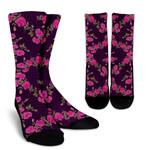Purple Floral Flower Pattern Print Unisex Crew Socks