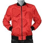 Strawberry Pattern Red Background 3D Printed Unisex Jacket