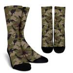 Desert Green Camouflage Print Unisex Crew Socks