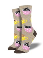 "Women's ""Cat-Feinated"" Socks Comfortable Funny Cute Unique Socks"
