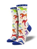 "Women's Laurel Burch ""Dancing Horses"" Socks Comfortable Funny Cute Unique Socks"
