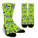 Cartoon Smiley Cow Pattern Print Unisex Crew Socks