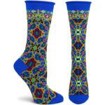 Ornate Allure (Blue) Women's Crew Socks Funny Cute Unique Socks