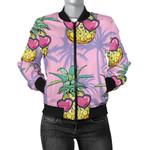 Pineapple Pattern Pink Heart Dots 3D Printed Unisex Jacket