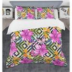 Tropical Hibiscus Black White Rhombus Bedding Set Bedroom Decor