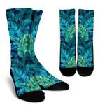 Turquoise Tropical Leaf Pattern Print Unisex Crew Socks