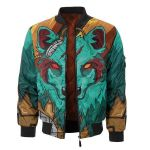 The Green Elite Wolf 3D Printed Unisex Bomber Jacket