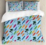 Surfboard Palm Tree Blue Printed Bedding Set Bedroom Decor
