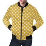 Yellow White Polka Dot Pattern 3D Printed Unisex Jacket