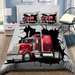 Red Truckers Break Printed Bedding Set Bedroom Decor